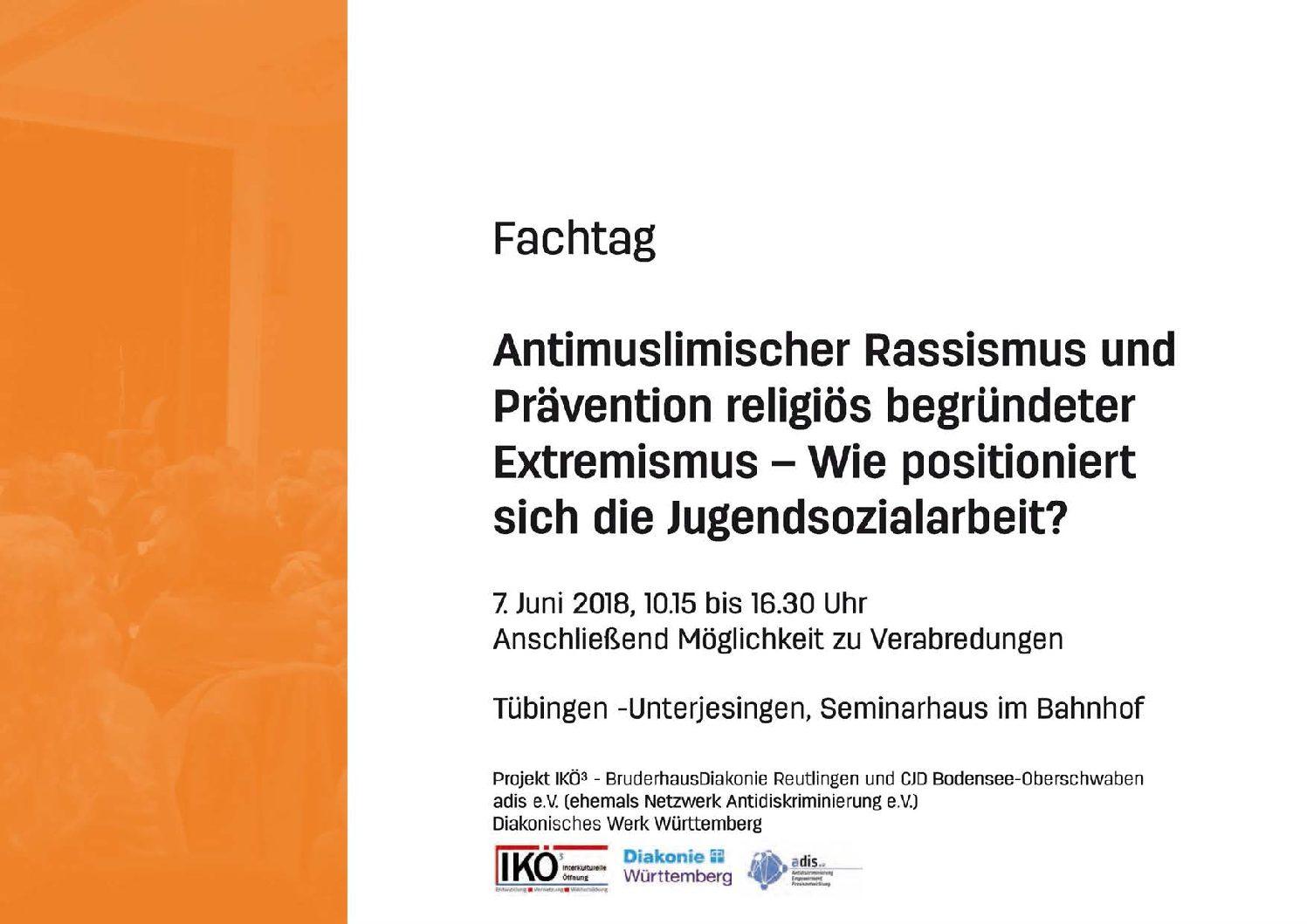 Fachtag am 7.6.18: Antimuslimischer Rassismus und Prävention religiös begründeter Extremismus