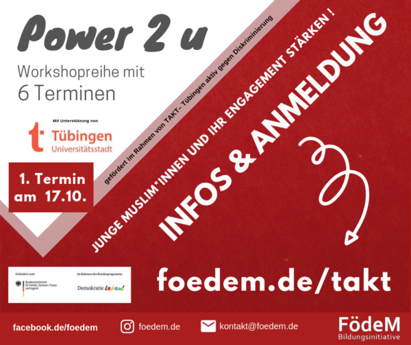 """TAKT Projekt: """"Power 2 u – Junge Muslim*innen und ihr Engagement stärken!"""""""